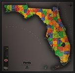 Florida Cool Colors Map