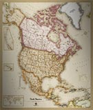 North America Antique Style Map