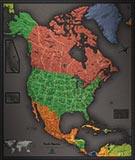 North America Cool Colors Map