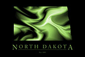 North Dakota Cool Map Poster