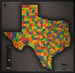 Texas Cool Colors Map