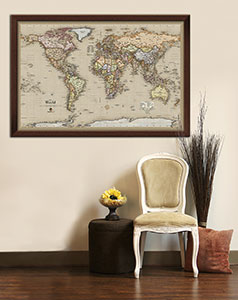 Framed Antique World Map on Display in Home Decor Wall