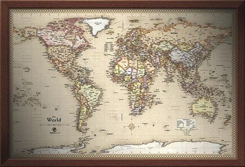 Framed World Map - Antique World Wall Map with Walnut Frame