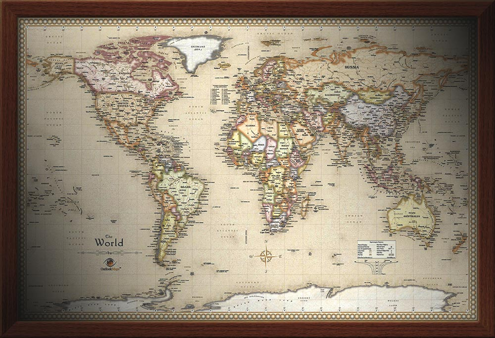 Framed maps wood and aluminum frames for wall maps framed world map antique world wall map with walnut frame gumiabroncs Gallery