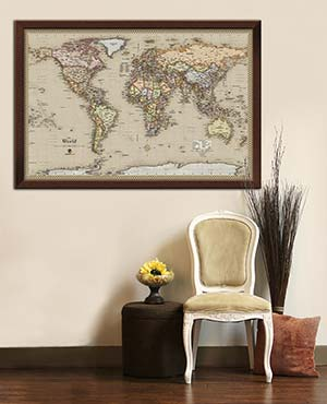 Framed World Map as Wall Decoration