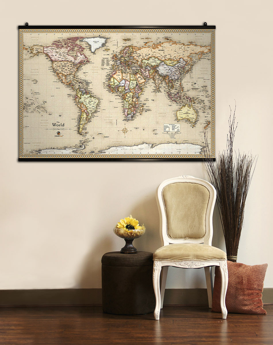 Maps with hang rails perfect for wall display many maps world map displayed on wall with hang rails gumiabroncs Gallery