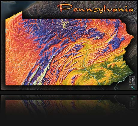 Pennsylvania Colorful Elevation Topographical Map