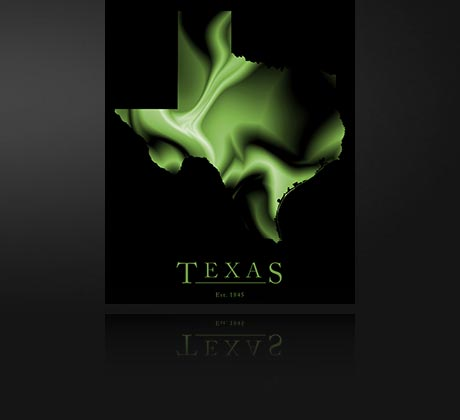 Texas Cool Green Map Poster