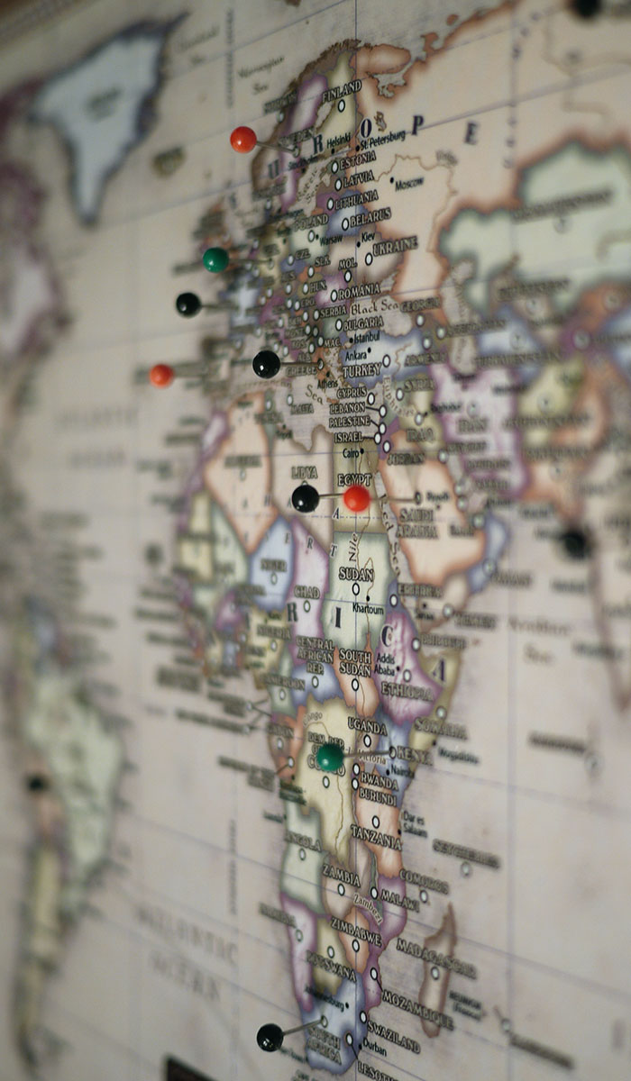 Maps mounted to pinboard pinable maps that include map pins mounted map to pinboard with pins in countries of africa and europe gumiabroncs
