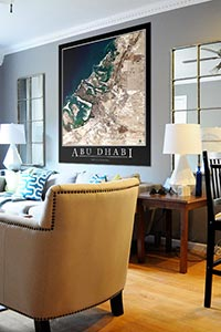 Abu Dhabi Uae Satellite Map Print Aerial Image Poster