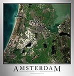 Aerial Image Satellite Map of Amsterdam Poster