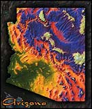 Topographic Physical Wall Map of Arizona