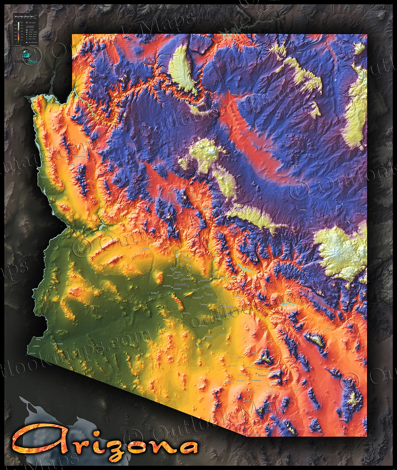 Arizona Map | Topographic Style Adds Color to Rugged Terrain