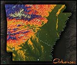 Arkansas Topographic Physical Wall Map
