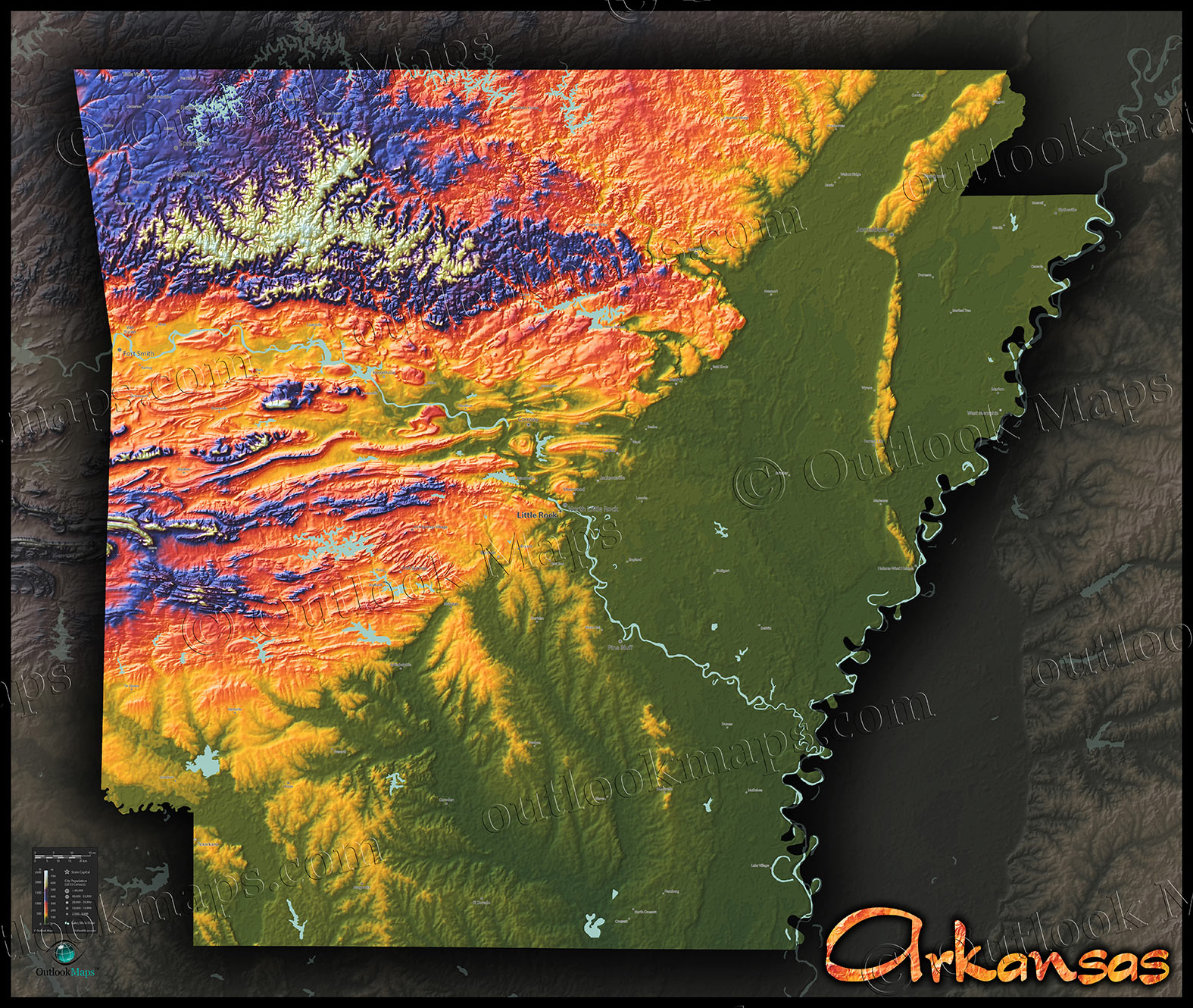 Colorful Map Of Arkansas  3D Physical Topography