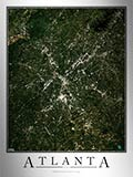 Aerial Image Satellite Map of Atlanta Area Poster