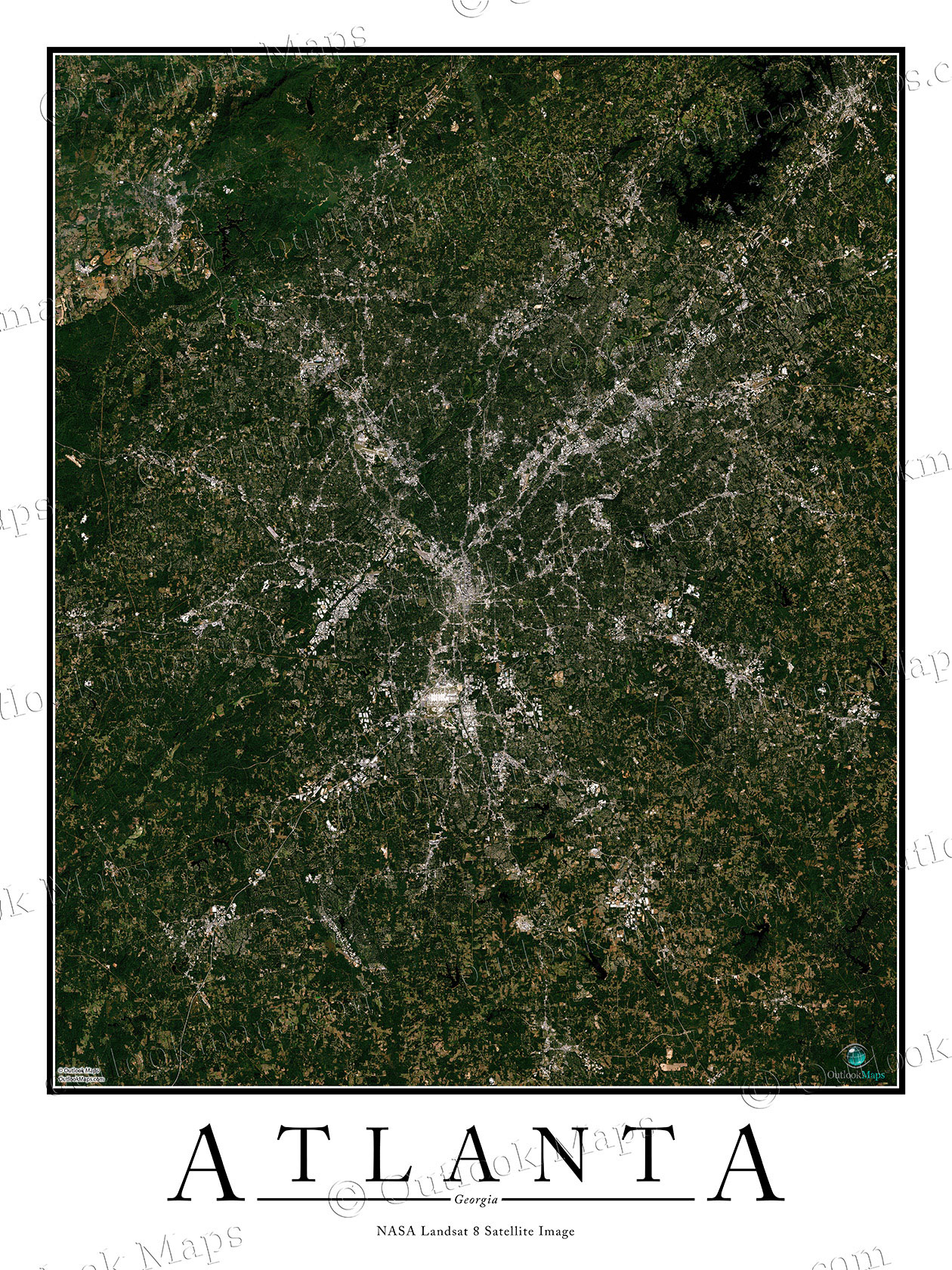 Satellite Map Of Georgia.Atlanta Ga Area Satellite Map Print Aerial Image Poster