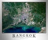Aerial Image Satellite Map of Bangkok Poster