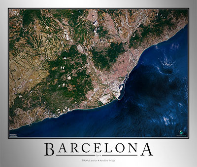 Satellite Map Of Spain.Barcelona Satellite Map
