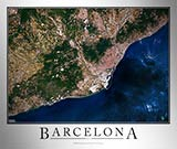 Aerial Image Satellite Map of Barcelona Poster
