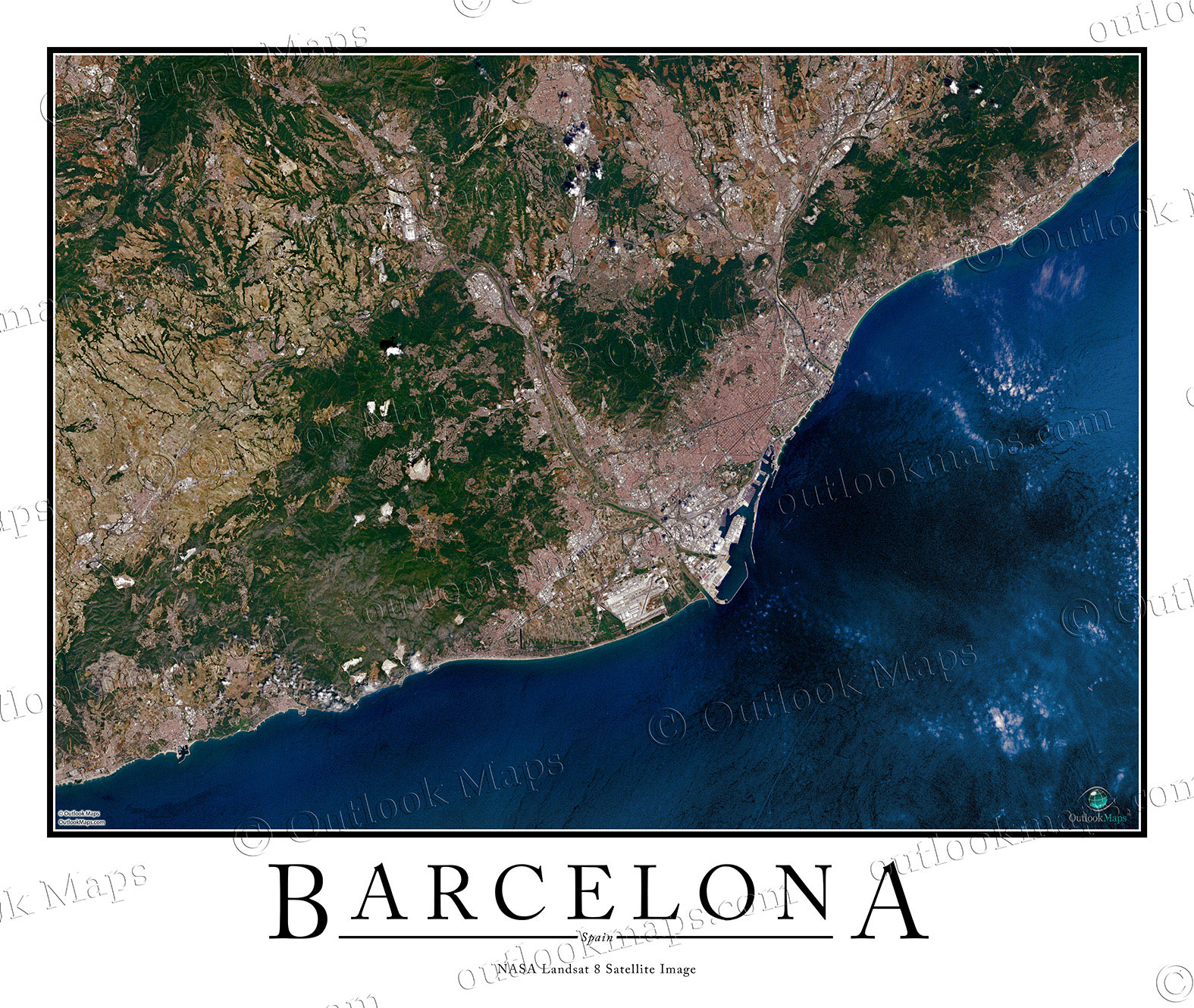 Barcelona Spain Satellite Map Print Aerial Image Poster - World satellite map view