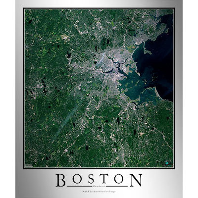 Boston, MA Area Satellite Map Print | Aerial Image Poster