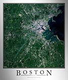Aerial Image Satellite Map of Boston Area Poster