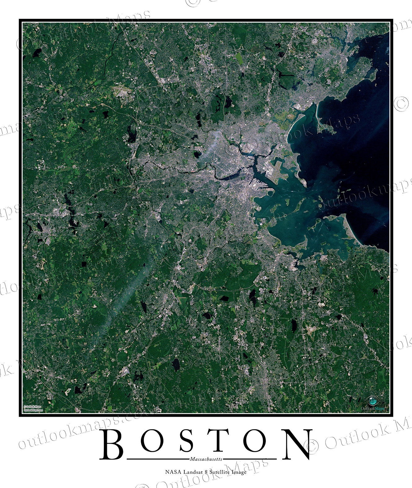 Boston MA Area Satellite Map Print Aerial Image Poster - World satellite map view