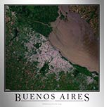 Aerial Image Satellite Map of Buenos Aires Poster
