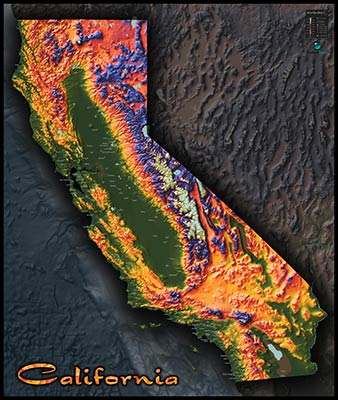 California Topographic Map on California Physical Map