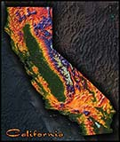 California Topographic Physical Wall Map