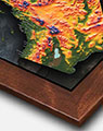 Topographical California Map with Walnut Wood Frame