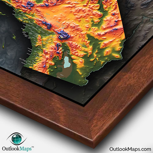 Colorful California Map Topographical Physical Landscape