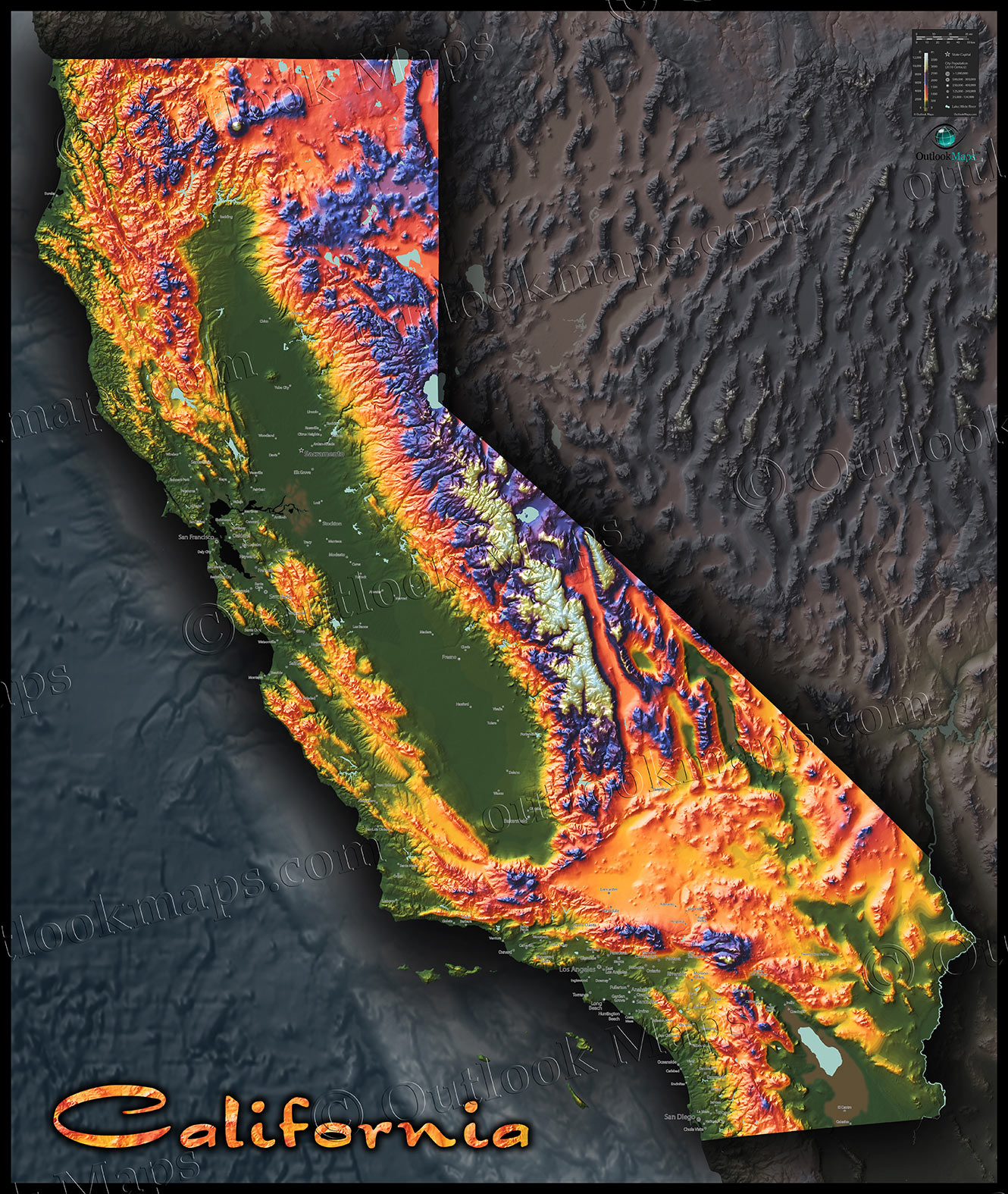 Colorful California Map | Topographical Physical Landscape