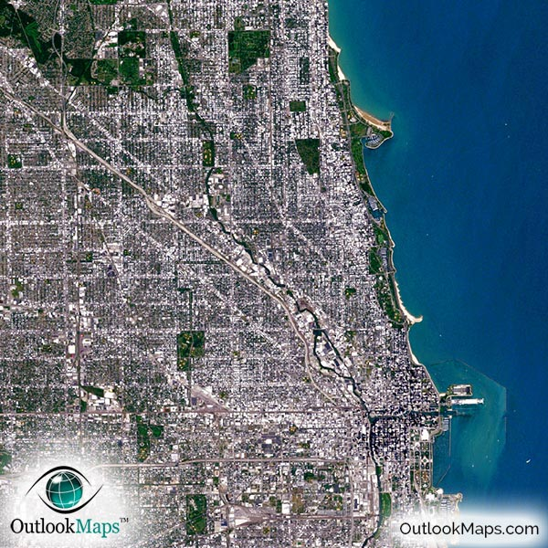 Chicago Il Satellite Map Print Aerial Image Poster