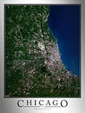 Aerial Image Satellite Map of Chicago Area Poster