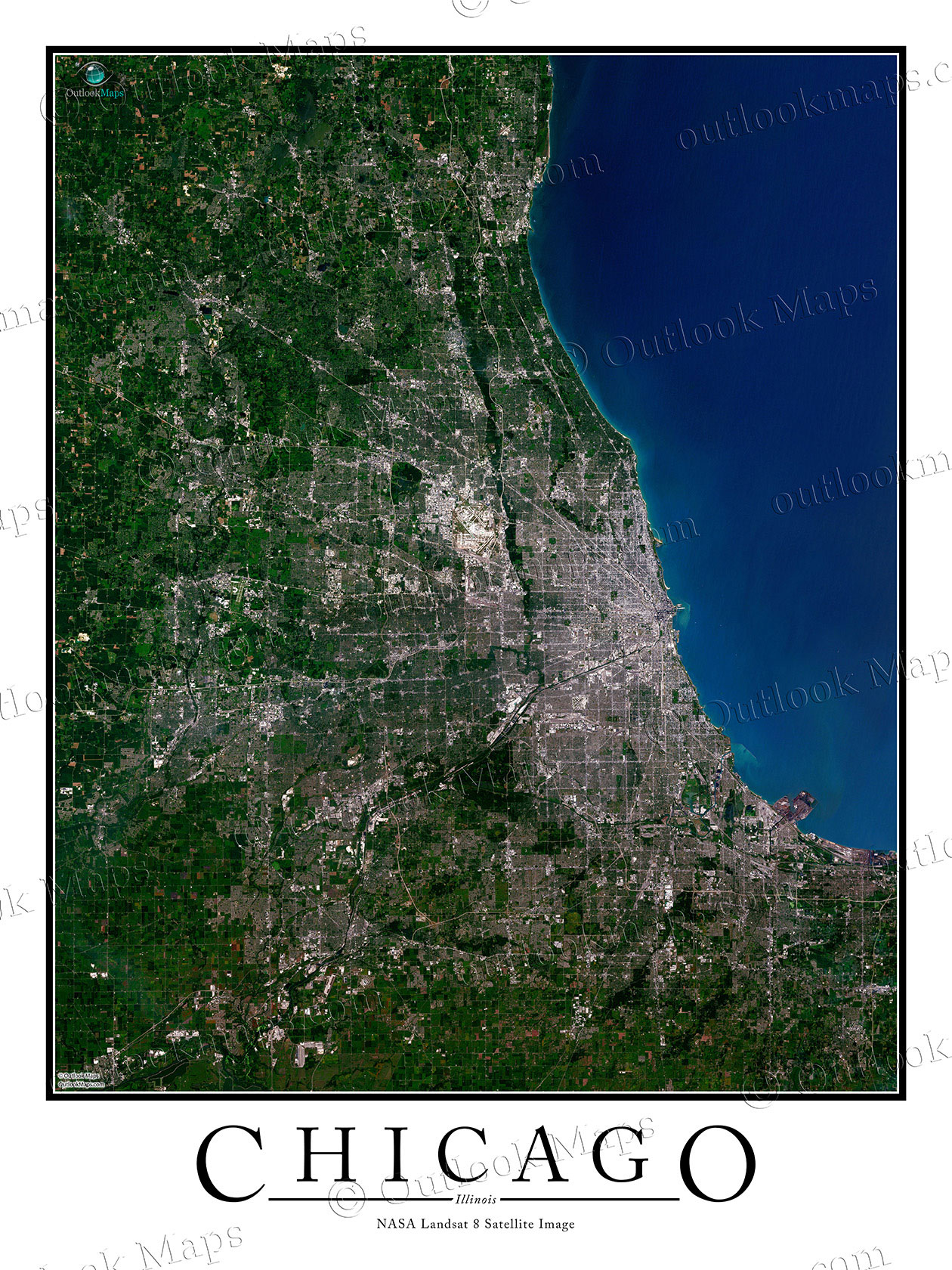 Chicago IL Satellite Map Print Aerial Image Poster - Satellite maps house