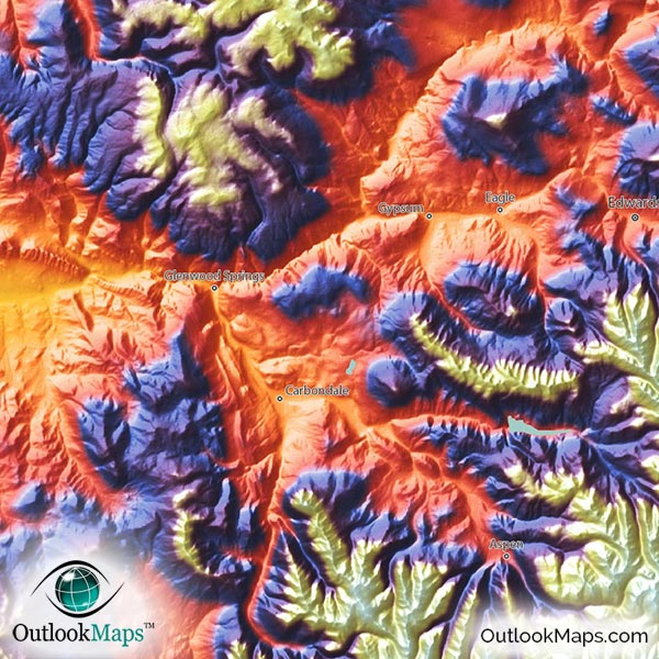 Colorful 3D Topography Of Rocky Mountains