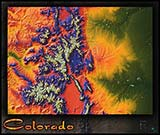 Topographic Colorado Physical Wall Map