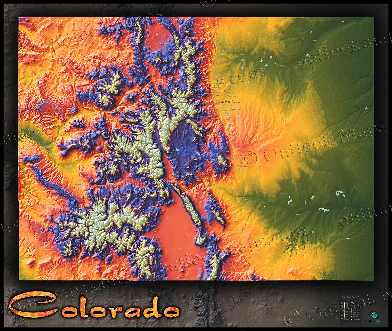 colorado map colorful 3d topography of rocky mountains
