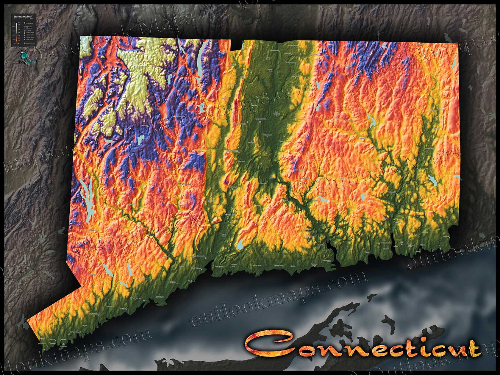 Connecticut Map | Colorful Topography of Physical Features