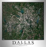 Aerial Image Satellite Map of Dallas Area Poster