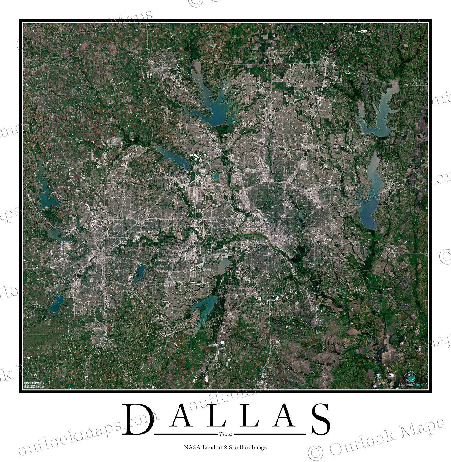 Dallas TX Satellite Map Print Aerial Image Poster