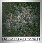 Aerial Image Satellite Map of Dallas Fort Worth Poster