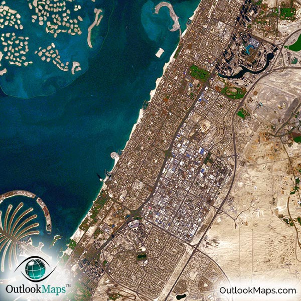 Dubai uae satellite map print aerial image poster detail view of map no gumiabroncs Image collections