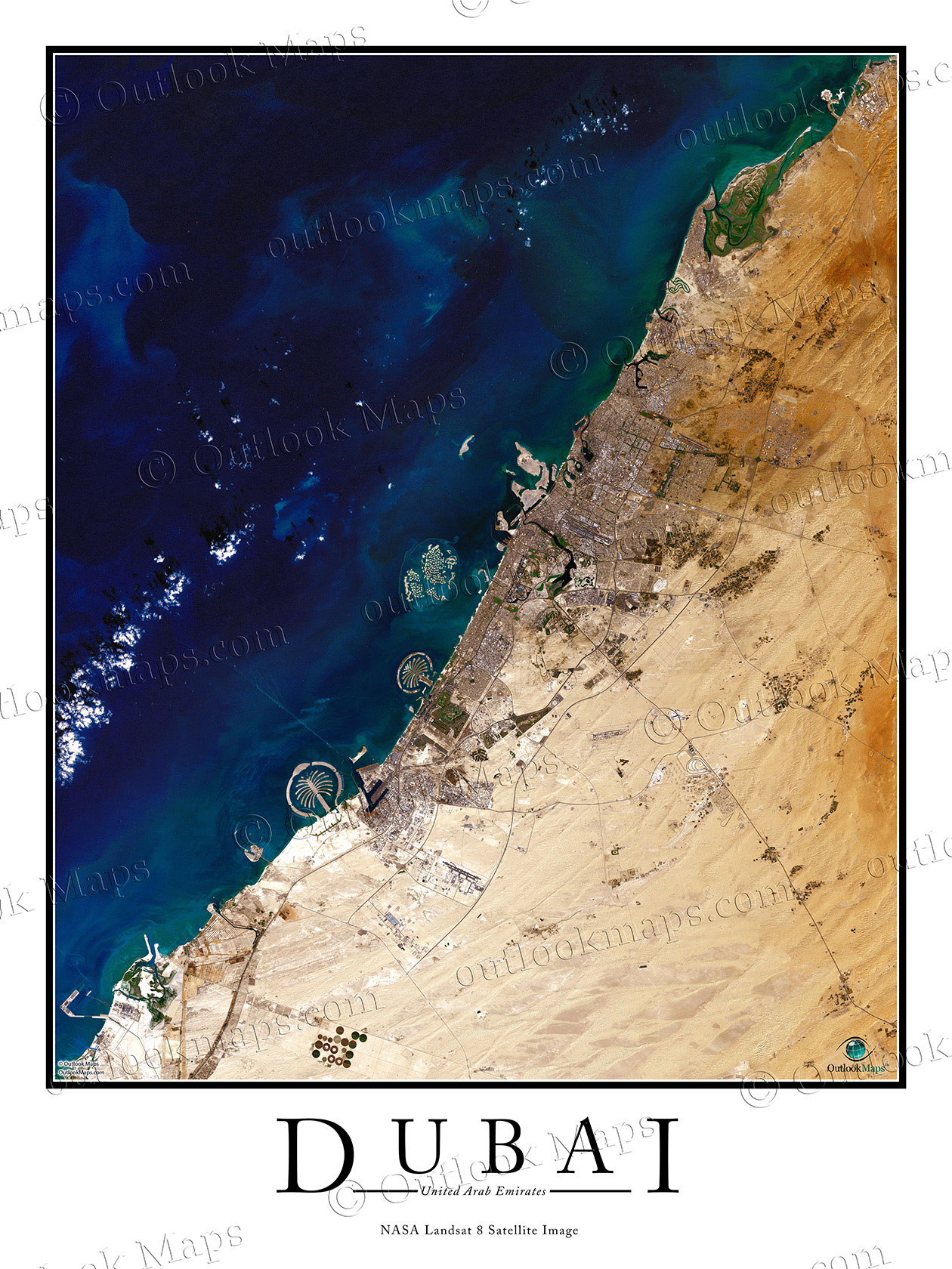 aerial image satellite map of dubai poster