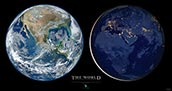 Earth Poster Two Halves of Globe at Day and Night