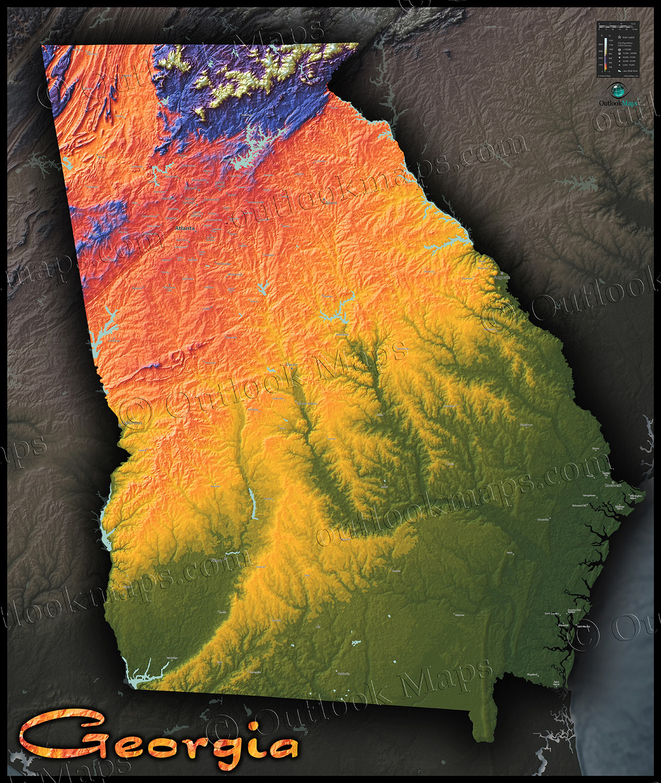 Topographic Georgia State Map Vibrant Physical Landscape - Georgia physical map