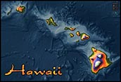 Physical Wall Map of Hawaii Topography