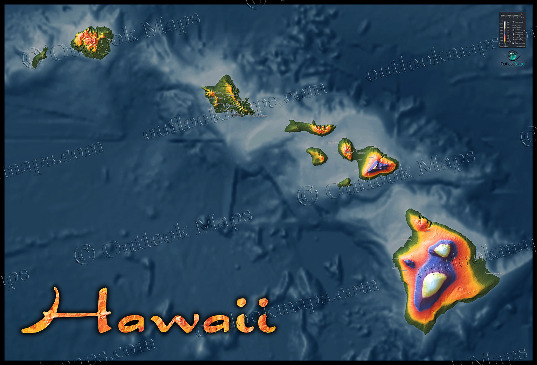 Topographic Map Games.Map Of Hawaii Topo Physical Features Ocean Floor